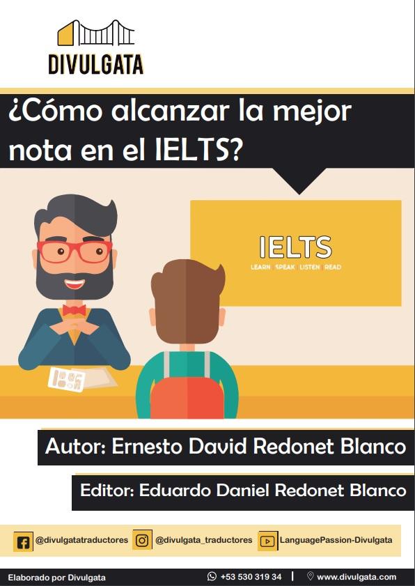 Portada de ebook de consejos para IELTS hecho por Divulgata