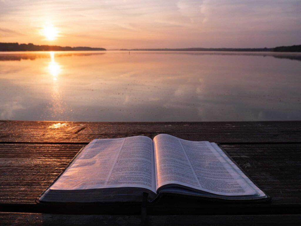 Libro abierto a la orilla de un lago